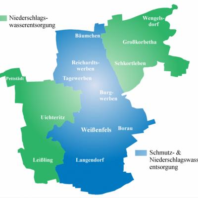 Entsorgungsgebiet der Abwasserbeseitigung Weißenfels - AöR